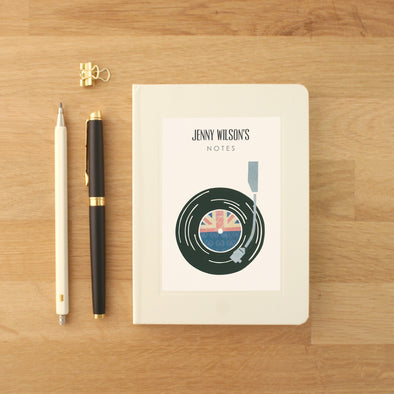 Record player music notebook with personalised text
