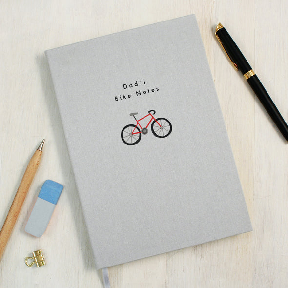 Personalised Red Bike A5 Cloth Bound Notebook