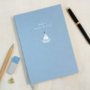 Personalised Sailing Boat A5 Cloth Bound Notebook