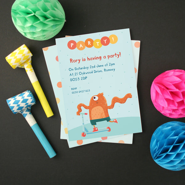 Personalised Scooter Monster Children's Party Invitations