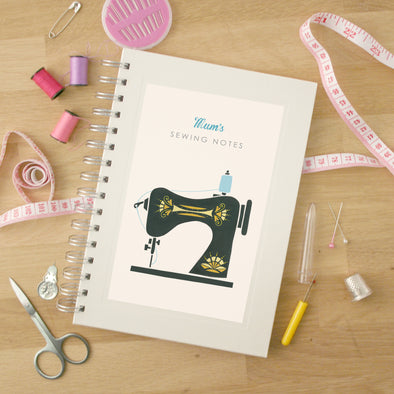 Personalised Sewing Machine Hardback Lined Notebook