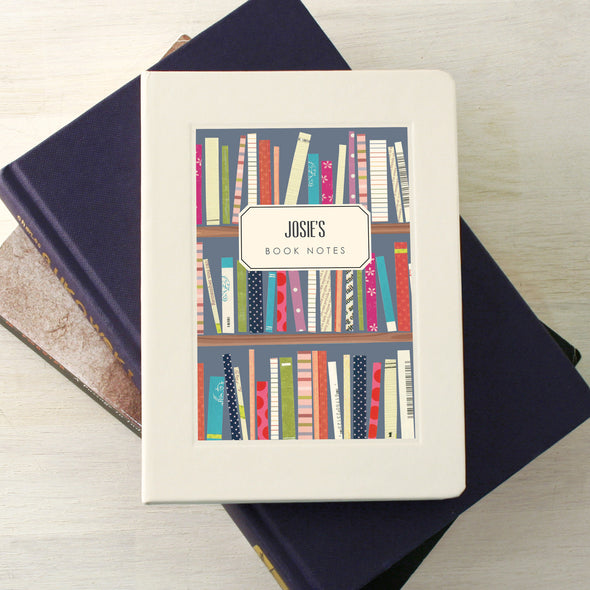 Personalised book journal with book shelves illustration