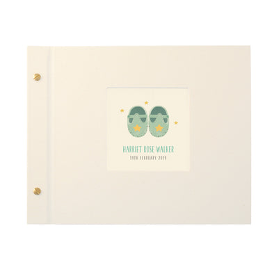 Personalised Turquoise Baby Shoes Photo Album