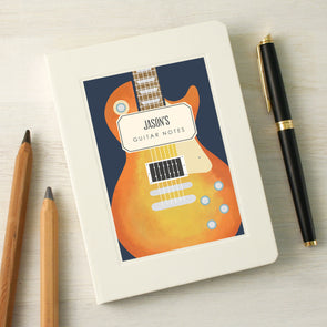 Personalised music notebook with guitar illustration