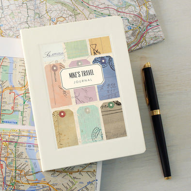 Travel journal notebook with personalised text