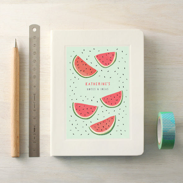 Watermelon design notebook with personalised text