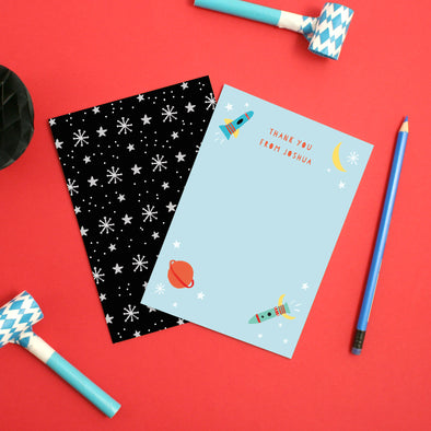 Personalised Space Children's Thank You Cards