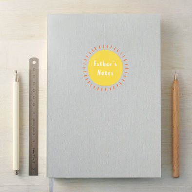 Personalised Sun A5 Cloth Bound Notebook