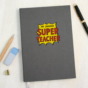 Personalised Super Teacher A5 Cloth Bound Notebook