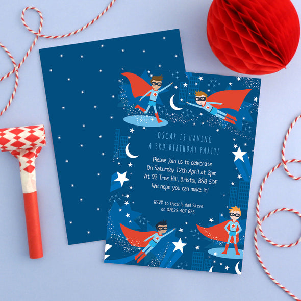 Personalised Superhero Pattern Birthday Invitations