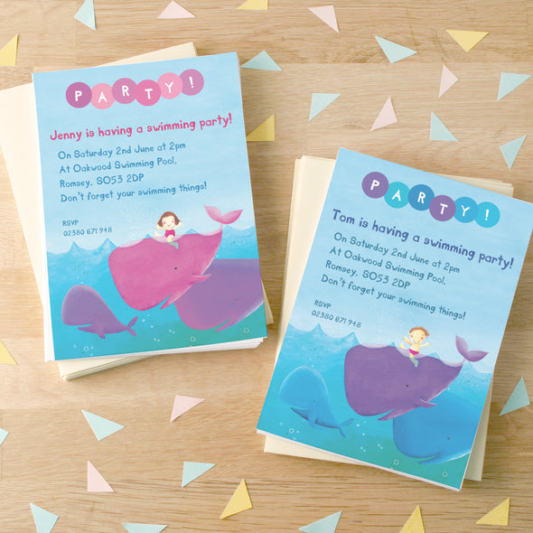 Swimming party invitations with personalised text