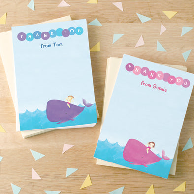 Swimming party thank you cards with personalised text