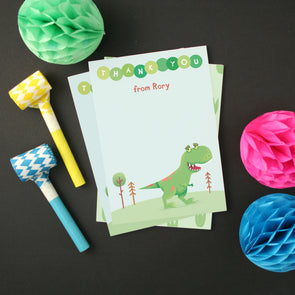 Personalised Dinosaur Thank You Cards With T-Rex Design
