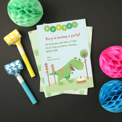 Personalised Dinosaur Party Invitations With T-Rex Design