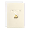 Gold Sailing Boat Birthday Card by James Ellis