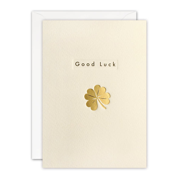 Gold Clover Good Luck Card by James Ellis
