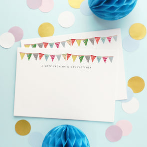 Personalised Note Cards With Bunting Design