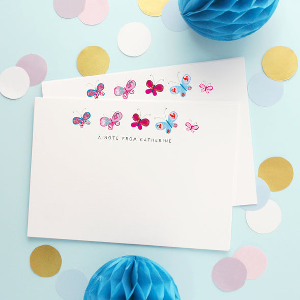Personalised Note Cards With Butterflies Design
