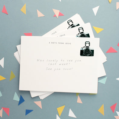 Personalised Note Cards With Camera Design