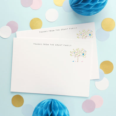 Personalised Note Cards With Decorated Tree Design