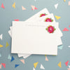 Personalised Note Cards With Pink Flower Design