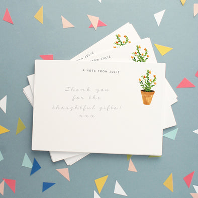 Personalised Note Cards With Plant Design