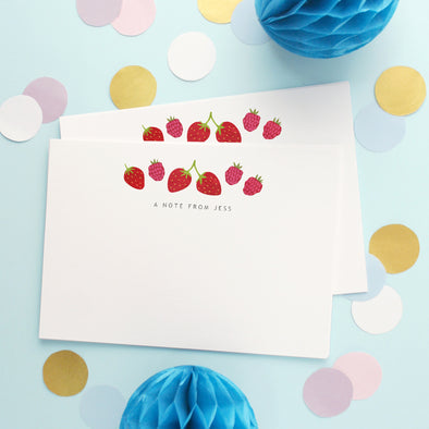 Personalised Note Cards With Strawberries Design