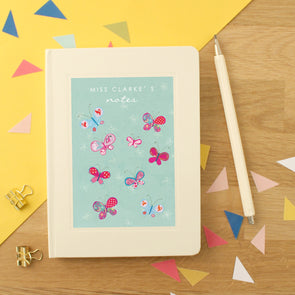 Personalised Thank You Teacher Notebook Butterflies Design