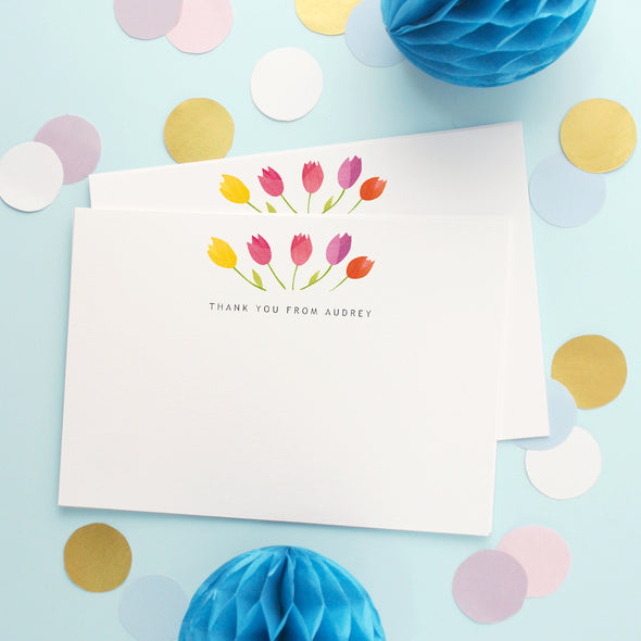 Personalised Note Cards With Tulips Design
