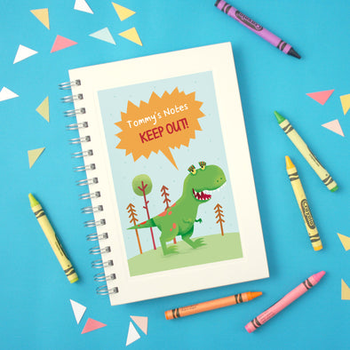 Personalised T-Rex Wire Bound Children's Notebook