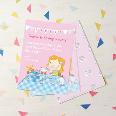 Children's tea party invitations with personalised text