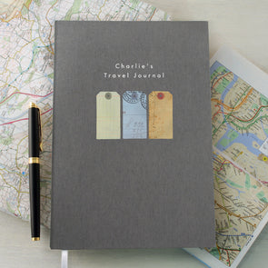 Personalised Travel A5 Cloth Bound Notebook