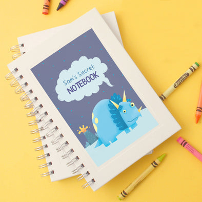 Personalised children's notebook with dinosaur illustration
