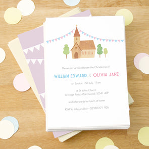 Personalised Twin's Christening Invitations With Envelopes