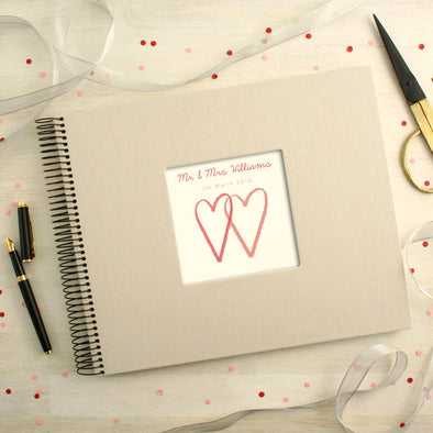 Personalised Wedding Spiral Bound Book Two Hearts Design