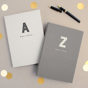 Personalised A5 Typographic Notebook Black And White