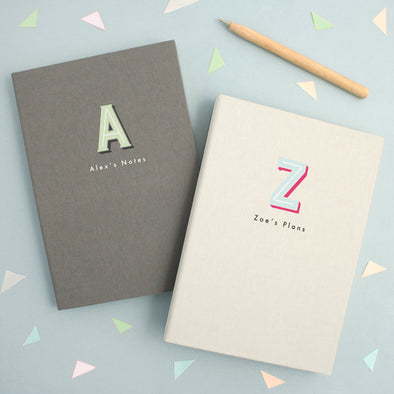 Personalised A5 Typographic Notebook Colour