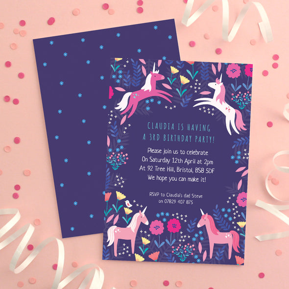 Personalised Unicorn Pattern Birthday Invitations