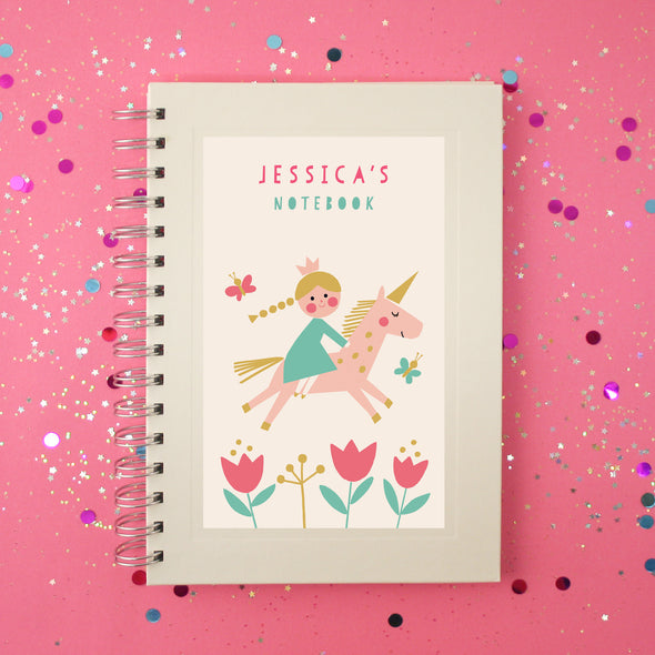 Personalised Children's Wire Bound Lined Notebook With Princess Unicorn Design