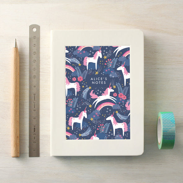 Personalised Unicorn Pattern Notebook