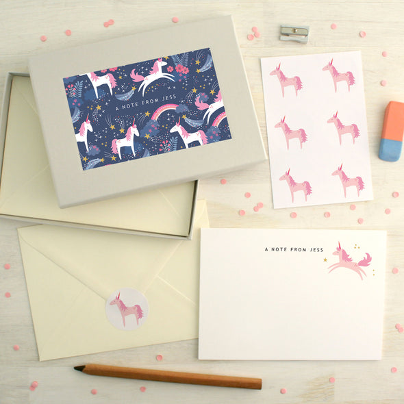 Personalised Unicorn Pattern Writing Set