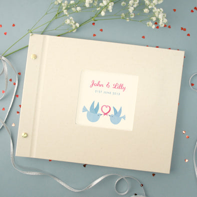 Personalised Wedding Cloth Bound Photo Album With Two Doves