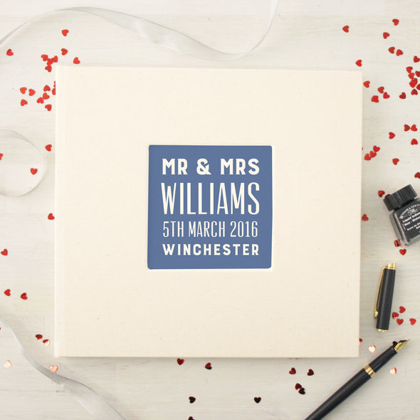 Personalised Typographic Wedding Cloth Bound Guest Book With Box