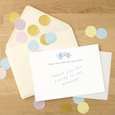 Personalised Wedding Thank You Cards With Doves Design