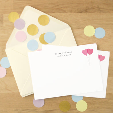 Personalised Wedding Thank You Cards With Heart Balloon Design