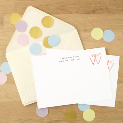 Personalised Wedding Thank You Cards With Two Hearts Design