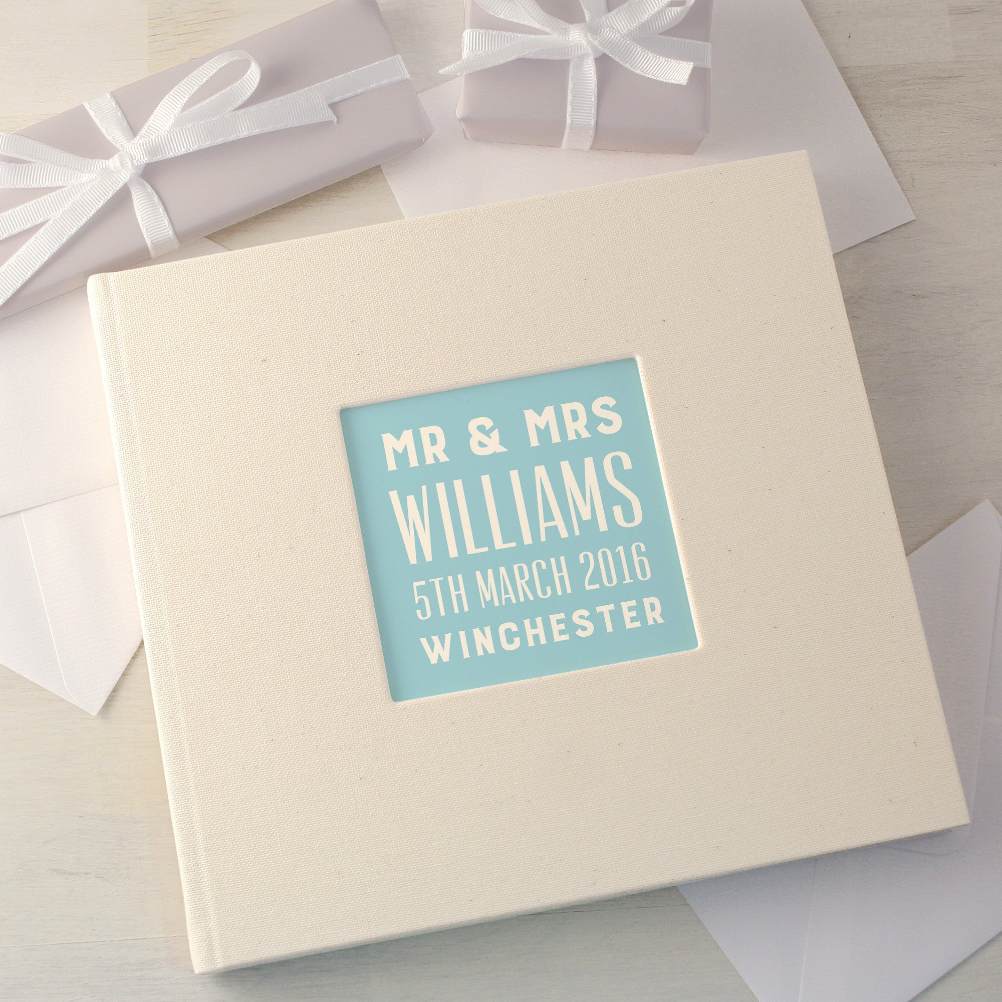 Personalised Typographic Wedding Cloth Bound Guest Book With Box ...