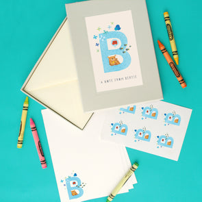Personalised Illustrated Letter B Writing Set