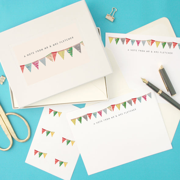 Personalised Bunting Writing Set With Stickers
