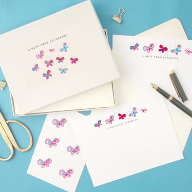 Personalised Butterflies Writing Set With Stickers